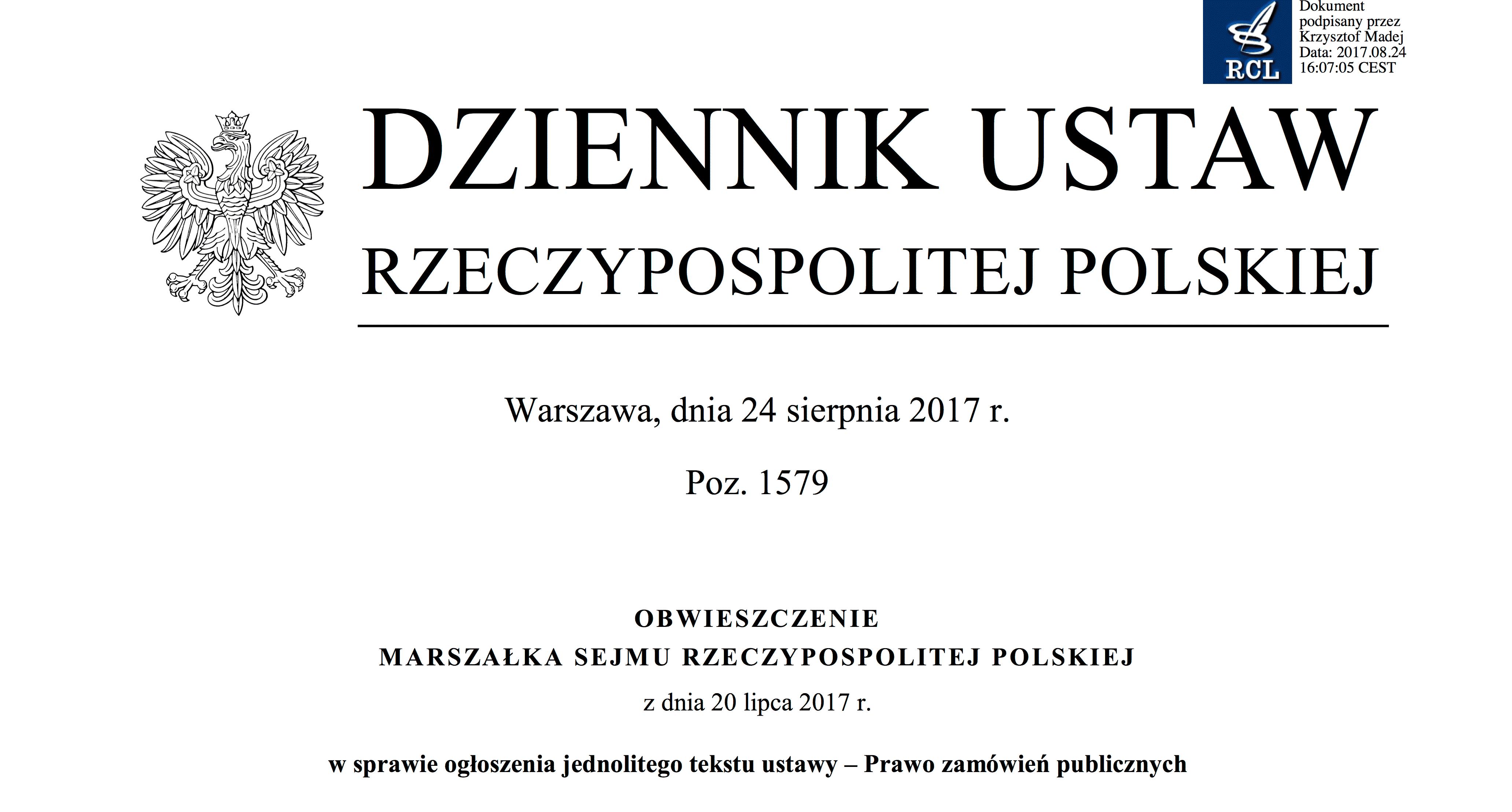 tekst jednolity ustawy Prawo zamówień publicznych